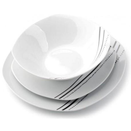 Serwis Obiadowy 18 El Paski Kropki Kwadratowy Ceramika Hurtownia