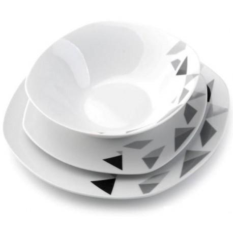 Serwis Obiadowy 18 El Wzór Trójkąty Kwadratowy Ceramika Hurtownia