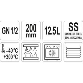 POJEMNIK GN ZE STALI NIERDZEWNEJ 325 X 265 MM 12,5 L